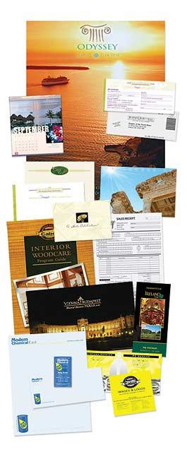 images of printing and creative services on contact page of Harbor Printing Co